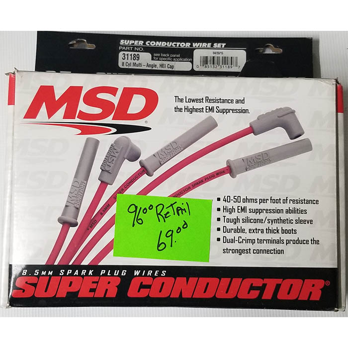 lefthander chassis performance parts supply msd 31189 super conductor spark plug wire set multi angle plug